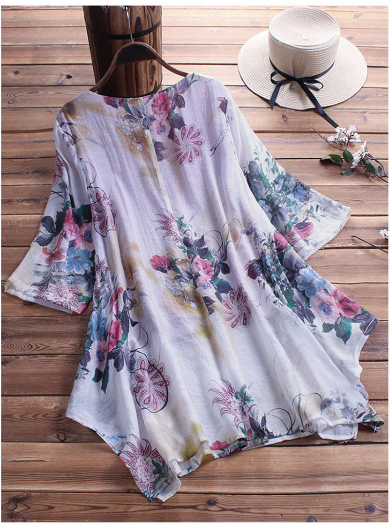 chemise blouse fleurie grande taille jusqu'au 9 XL