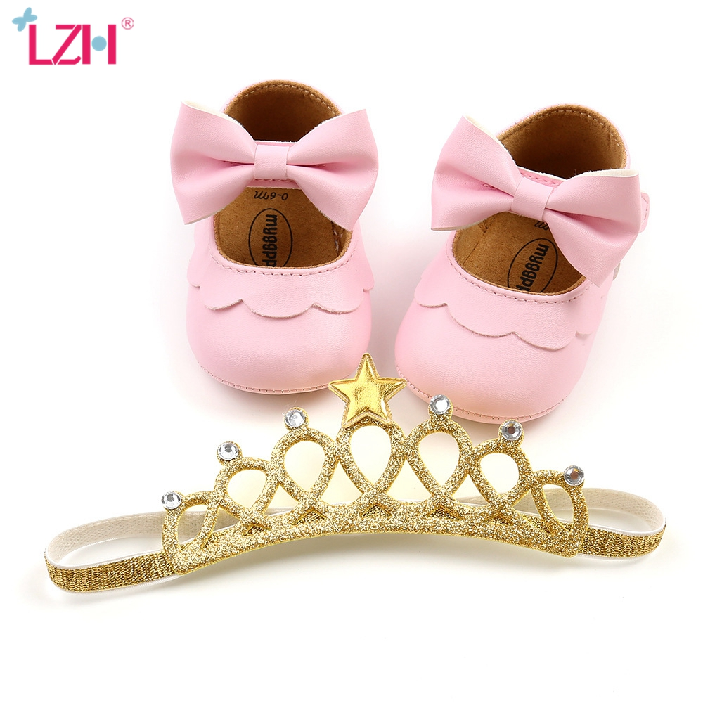 LZH Spring Autumn Baby PU Leather Shoes For Baby Girl Moccasins Shoes Bow Soft Soled Non-slip Footwear Crib Shoes+Headband 2Pcs