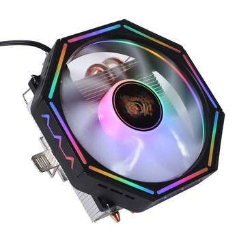 Muñeco de nieve M4OO CPU radiador, 4 tubos de calor 3 Pin abajo-presión ordenador de escritorio CPU ventilador de enfriamiento con luz, soporte/ADM