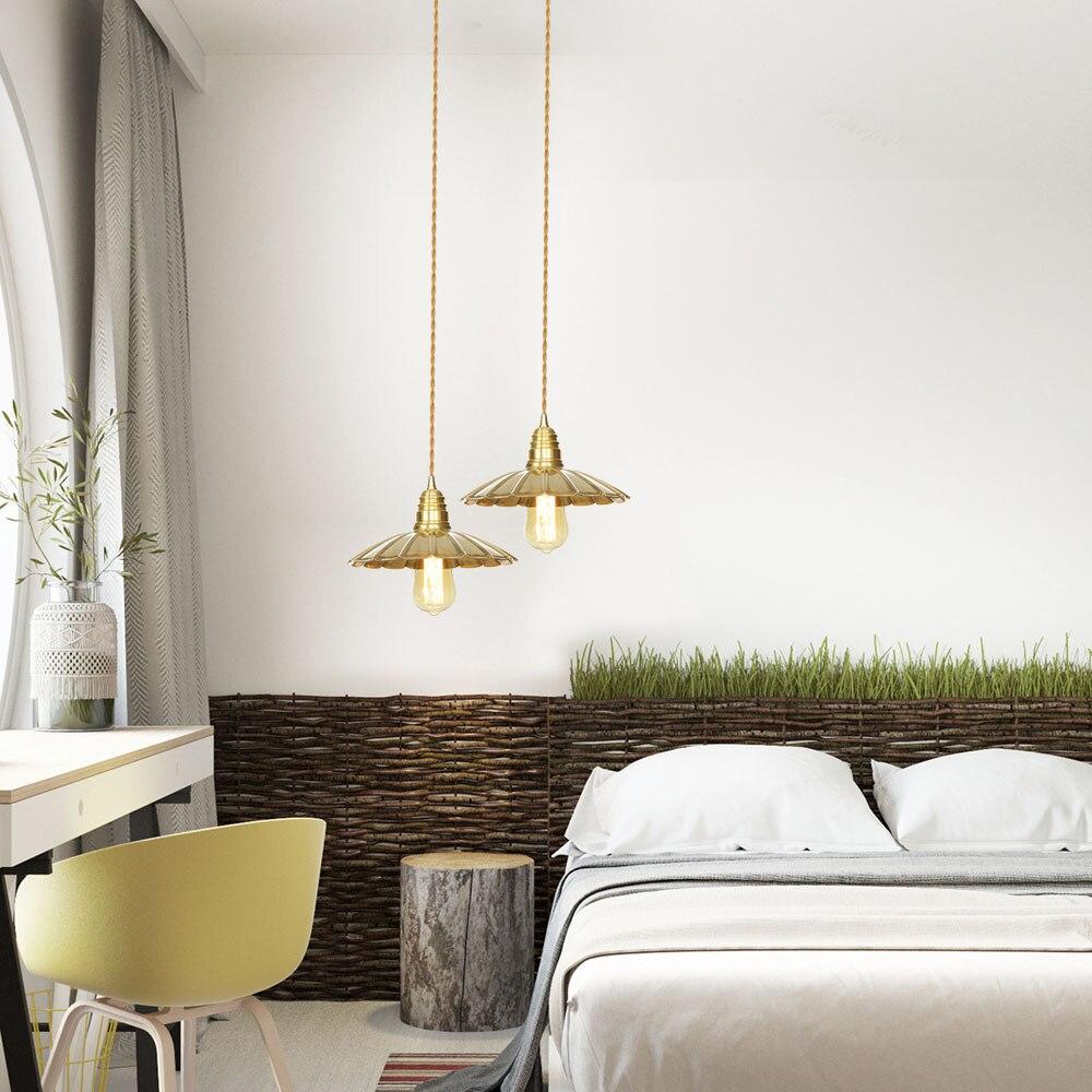 Nordic modern glass pendant lamp  E27 bulb copper Lamp head Glass Shade Pendant Lamps Bedside pendant light Bedroom/restaurant|Pendant Lights| |  - title=