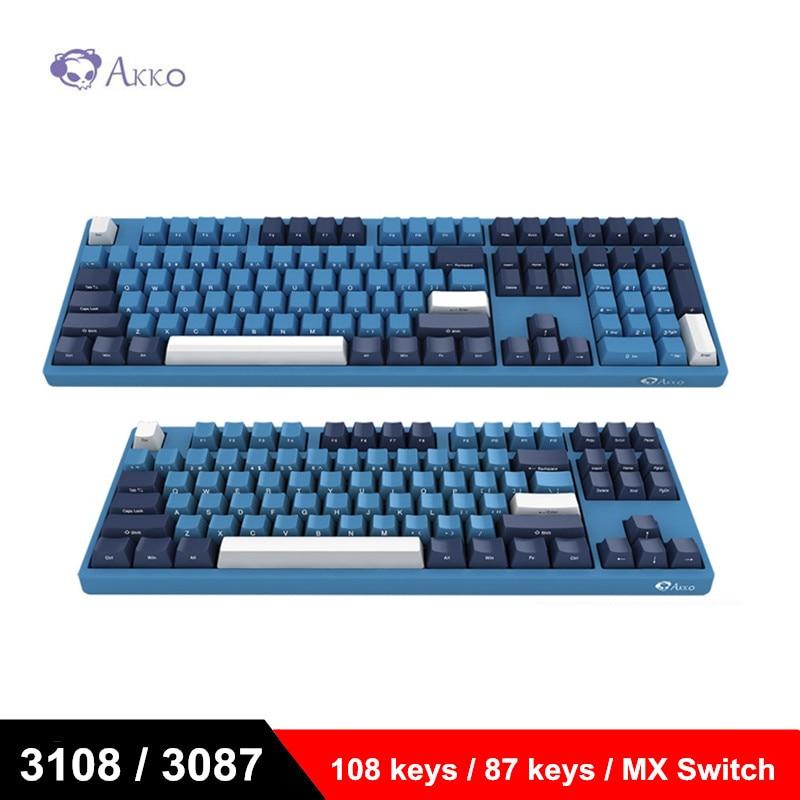 Akko Ocean Star Spel Mechanische Toetsenbord 87 Toetsen 108 Toetsen Cherry Mx Switch Side Letter Usb Bedrade Computer Gamer Type C 85% Pbt