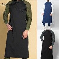 Fashion Men Robes Muslim Islamic Cut Sew Jubba Thobe Middle East Dubai Saudi Arab Pakistan Male Gown Tunic Plus Size 4XL 5XL