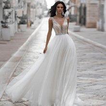 Sexy V Neck Wedding Dress Custom Sleeveless Sparkling Beadng Stones Backless White Ivory Tulle A Line Bridal Dresses