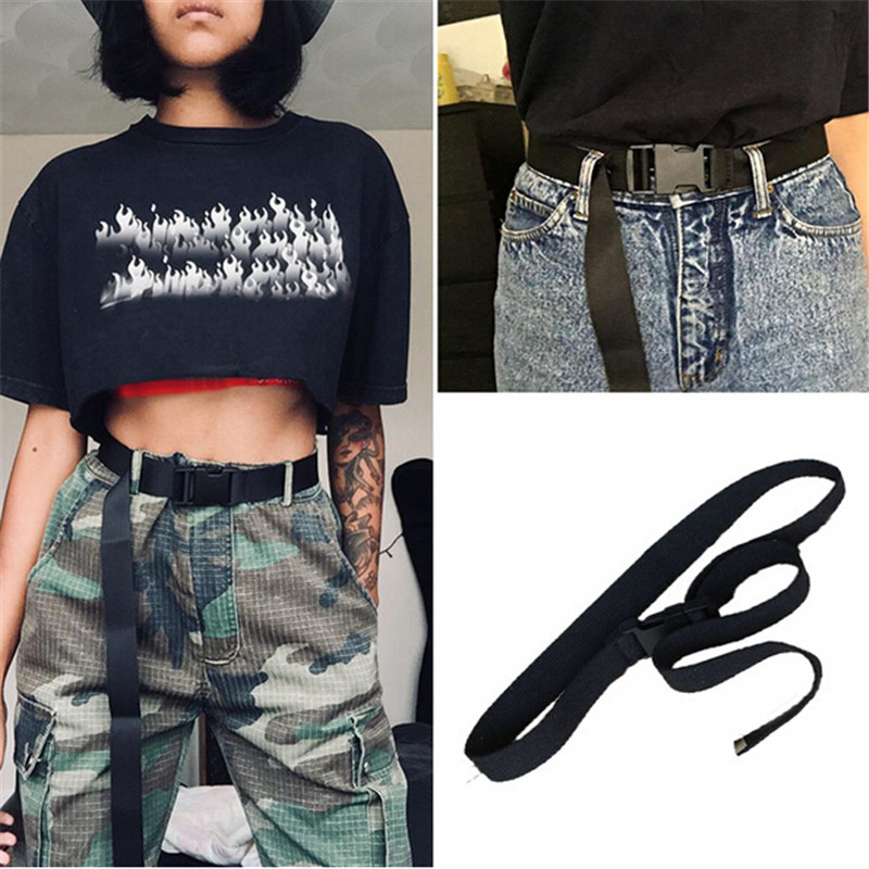 New Hot Black Canvas Belt For Women Casual Female Waist Belts With Plastic Buckle Ceinture Femme Harajuku Solid Color Long Belts