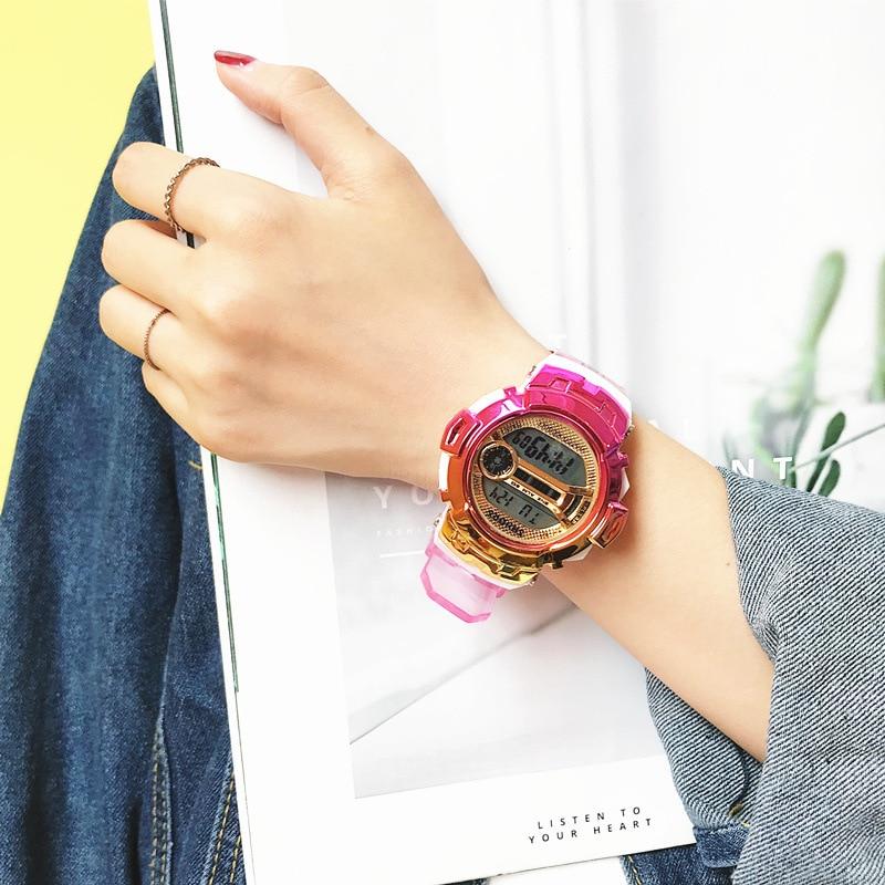 Fashion Kids Watches Casual Colorful Girls Watch Transparent Watch Band Digital Watch Children Clock Waterproof