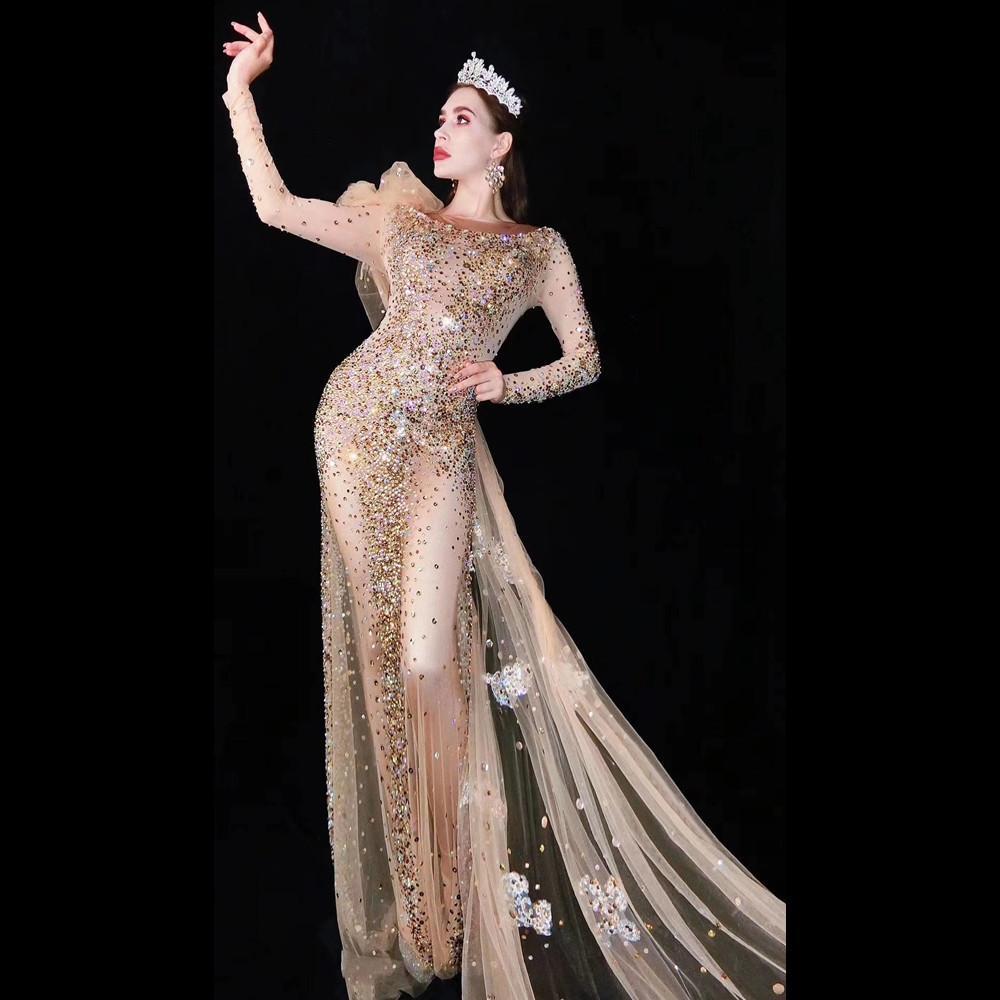 Women's Wedding Birthday Outfit Mesh Singer Dance Bar Dresses Multi-color Rhinestones Transparent Long Dress