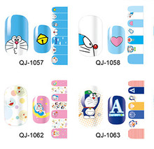 2019 Nail Stickers Leuke Cartoon Grote Witte & Doraemon Jingle Katten voor Nail Art Decoratie Roze Volledige Cover Nail Decals tips(China)