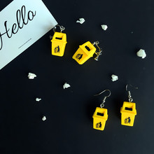 2020 korean hot Creative personality interesting Imitation trash can earrings drop earring trend funny fashion Resin earring