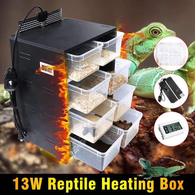 13W 4 Layers Integrated Pet Reptiles Breeding Box PVC Acrylic Feeding Box Case Terrarium With Hating Pad Temperature Display