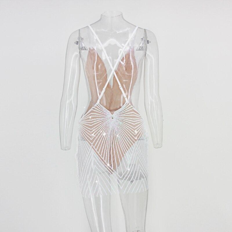 Summer V Neck Sequin Bodycon Dress
