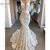 Robe De Mariage Elegant Lace Mermaid Wedding Dress Sexy V Neck Backles Wedding Bridal Gowns robe de soiree