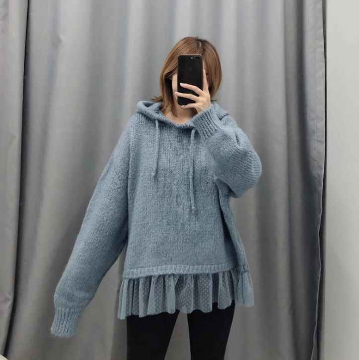 HCBLESS Women sweater 2019 winter new style Hem mesh stitching large size loose hooded sweater