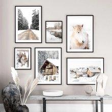 Зимние холст картины с изображением белки дом река шоссе пейзаж