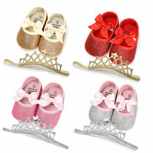 fashion Shoes butterfly embroidered comfortable Baby Girl Sequins Bowknot Shoes+1PC Hairband Toddler First Walkers Kid Shoes(China)