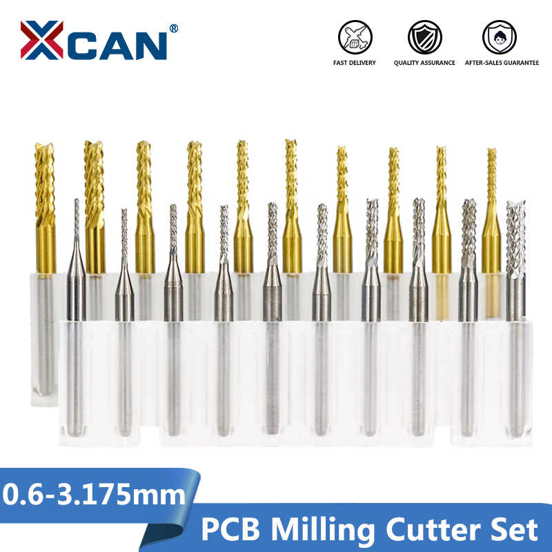 XCAN 10pcs 0.6-3.175mm Set di frese per PCB in metallo duro 3.175mm codolo PCB macchina per incisione fresa