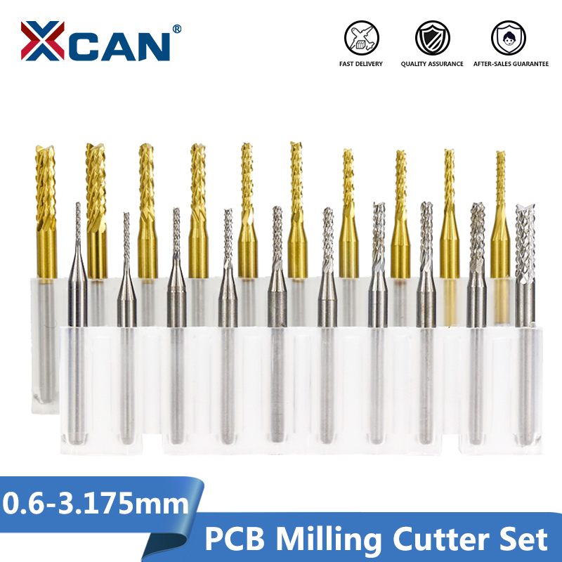 XCAN 10pcs 0.6-3.175mm Carbide PCB Milling Cutter Set 3.175mm Shank PCB Machine Engraving Bit End Mill