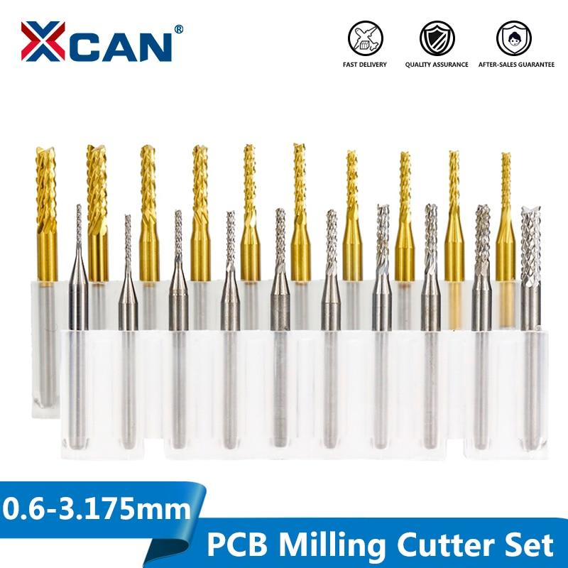 XCAN 10pcs 0.6-3.175mm Carbide PCB Milling Cutter Set 3.175mm Shank PCB Machine Engraving Bit End Mill