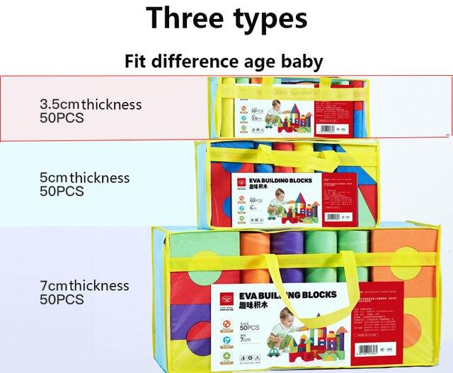 Infant Shining Building Blocks Baby Big Blocks Educational Toys Large for Children EVA 50PCS Pretend Play Game Foam ToysBlocks