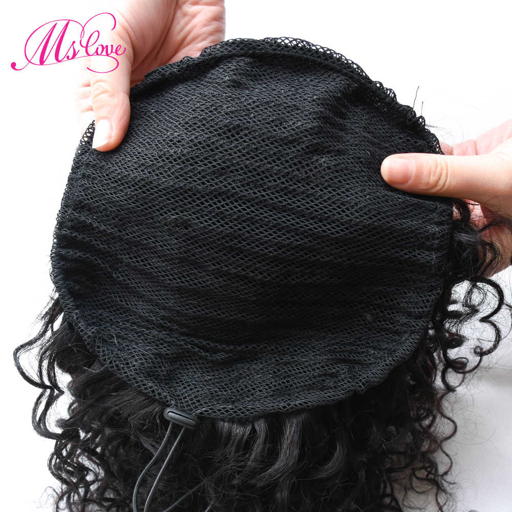 Afro Kinky Curly Ponytail Clip Ins Drawstring Ponytail Human Hair extensions For Women Brazilian Non Remy Hair 1 Piece Ms Love
