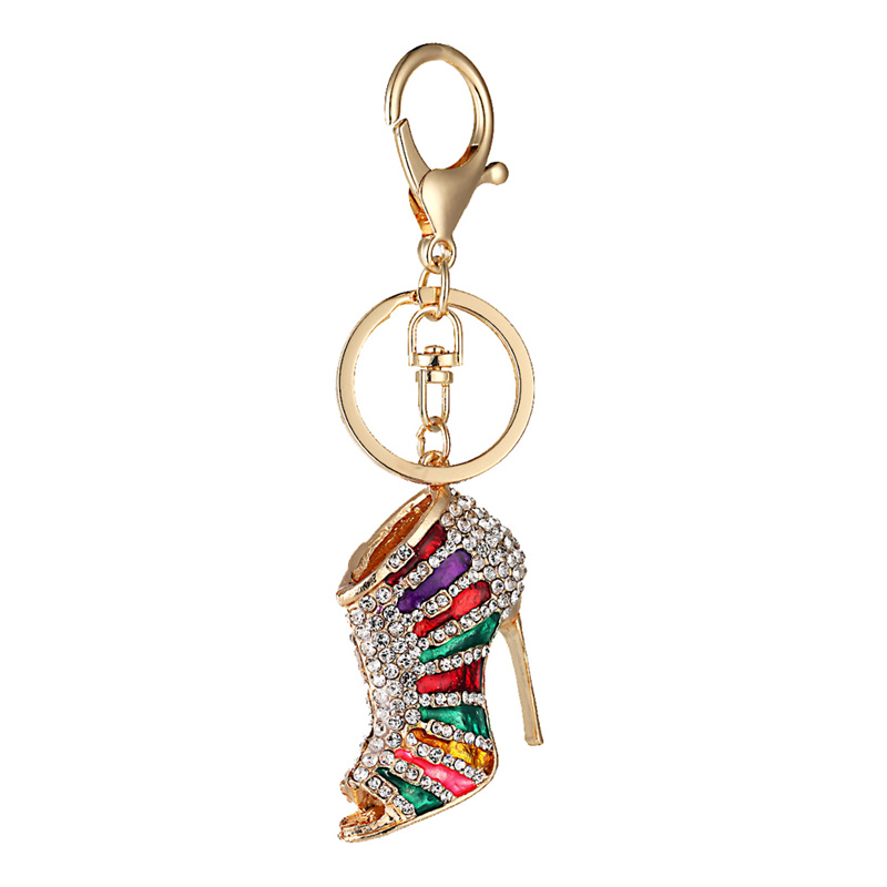 Novelty High Heel Shoes Keychains Rhinestone Shoe Keyring Charm Women Handbag Key Holder Girl Bag Pendant Jewelry