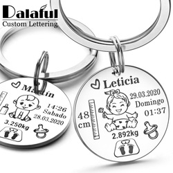 Lovely Personalized Baby Boys Girls Keychain Name Birth Weight Height For Newborn Commemorate New Mom Dad Gift Keyring P026_C