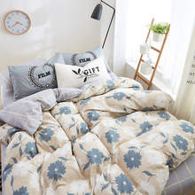 Nordic Bedding Set 100% COTTON Sheet,Autumn Bedding Cotton Set Pillowcase & Duvet Cover 3/ 4pcs Boys Bed Linen Set Blue Flower