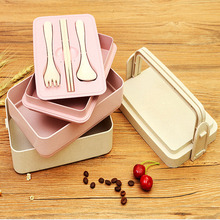 Portable Lunch Box Wheat Straw Picnic Microwave Bento Food Storage Container Student Camping Lunch Dinner Durable Lunchbox Boxes