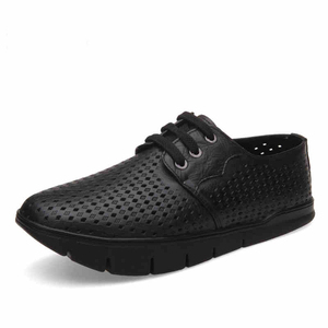 Summer K-shaped negative heel shoes for men and women lumbar spine orthopedic shoes Front high back low perforated leather sanda