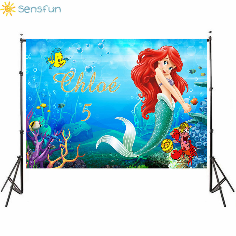 Sensfun Turquoise under the sea Party Photography Background Cartoon Character Little Mermaid Children Backdrop for Photo Studio