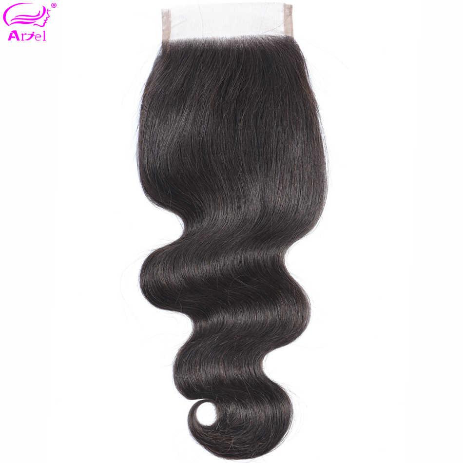 Ариэль бразильские волосы 100% человеческие волосы волнистые 8-22 дюймов 4*4 Кружева закрытие натуральный цвет не Реми волосы 1 шт./лот Бесплатная Часть Закрытие