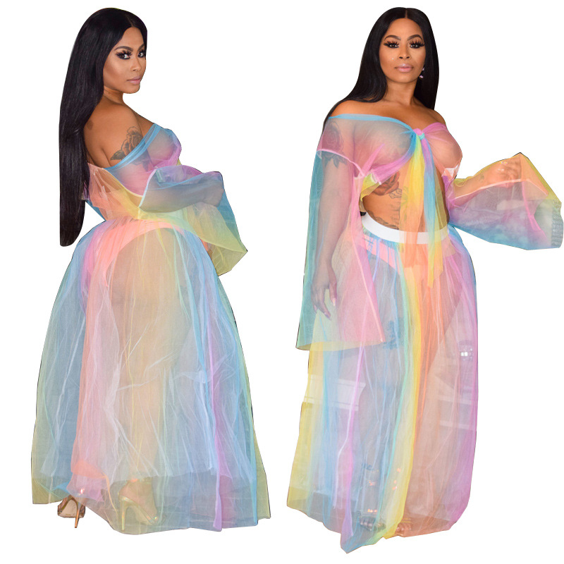 AliExpress Ebay2019 Hot Selling Europe And America Sexy Perspective Nightclub Set Voile Transparent Bathing Suit Blouse