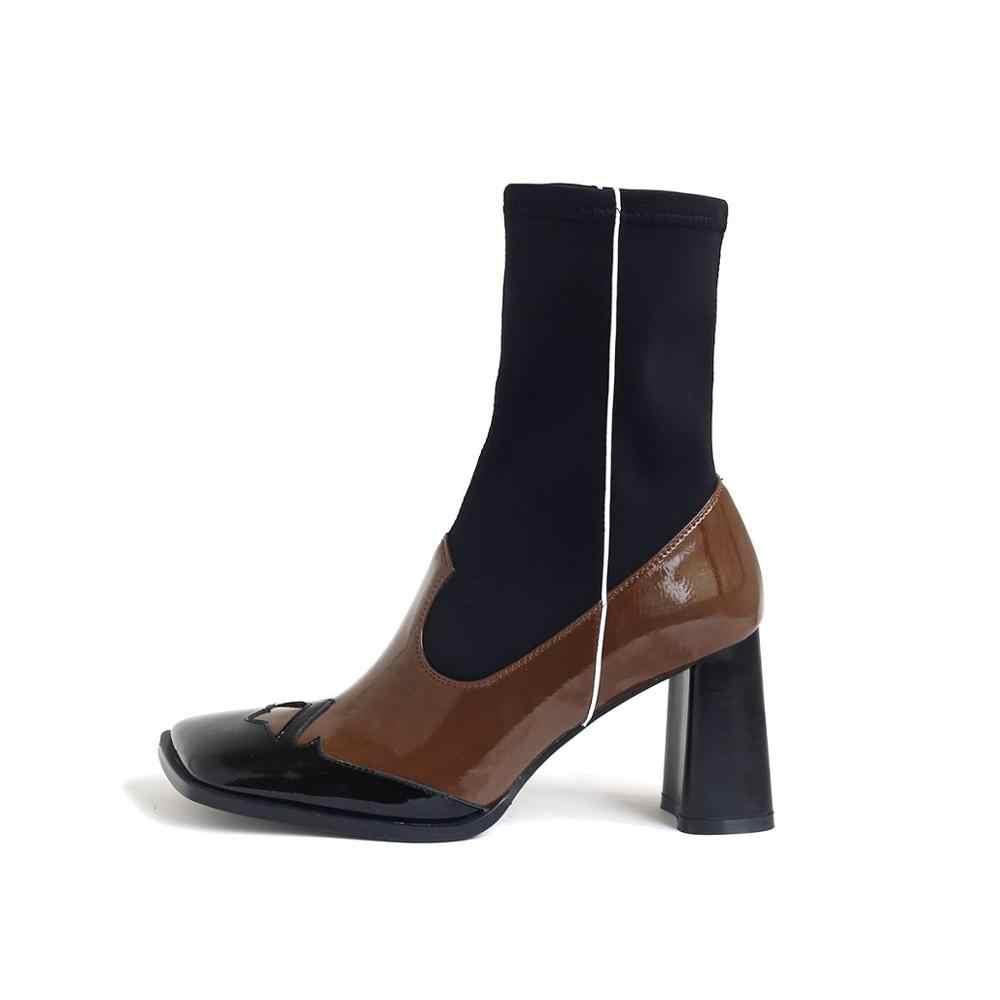 Krazing pot 2020 moda karışık renkler garip tasarım çizmeler kare ayak yüksek topuklu kış kadınlar üzerinde kayma streç orta buzağı çizmeler L03
