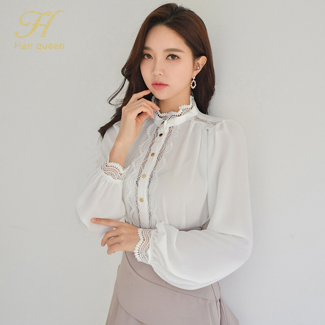 H Han Queen 2 Pieces Women 2021 Spring Sexy OL Long Sleeve Lace Office Lady Casual Loose Big Swing Women's Elegant Party Dress 4