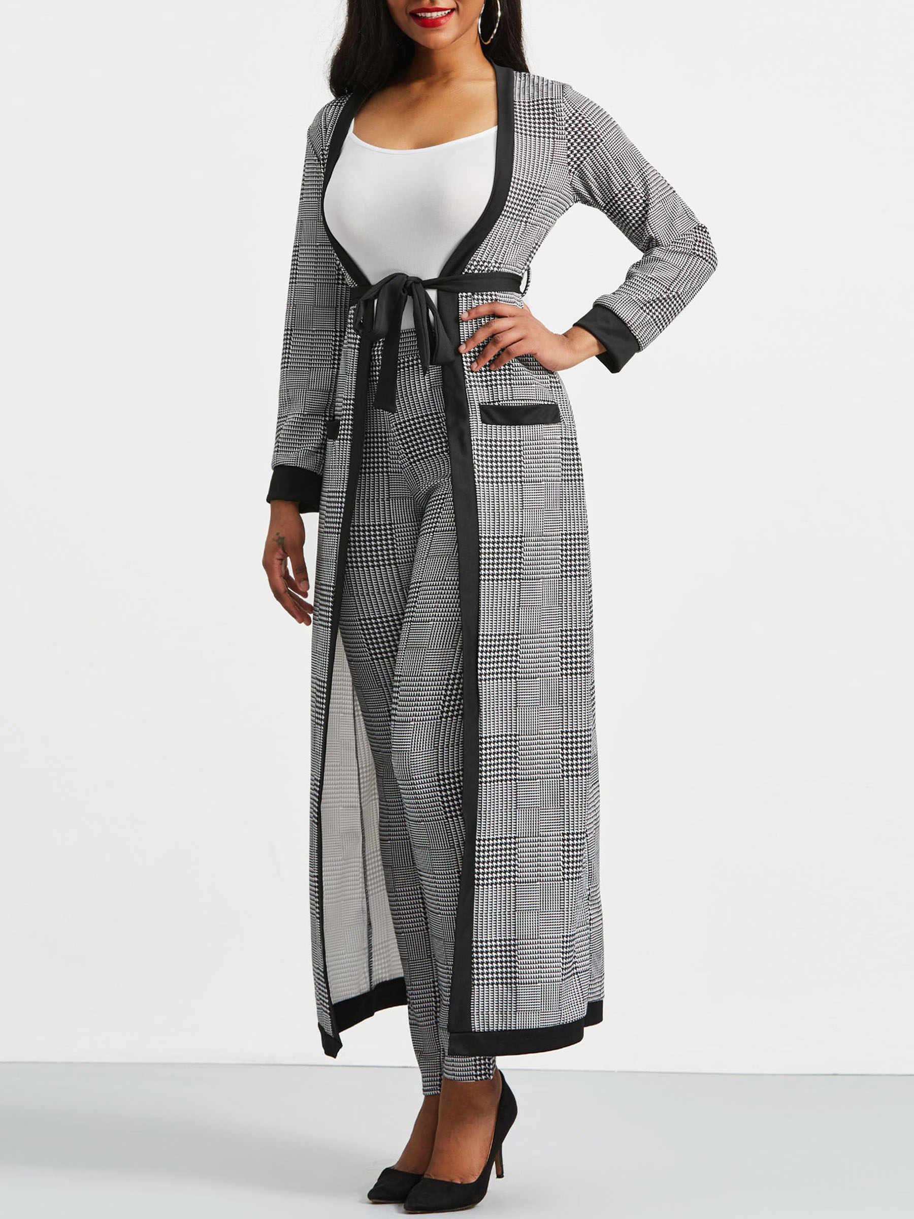 2019 סתיו חורף נשים 3 חתיכה סטים ארוך משבצות מעיל גופייה הרמון מכנסיים סט אישה חליפות גבירותיי משרד טרנץ מעילי 2XL
