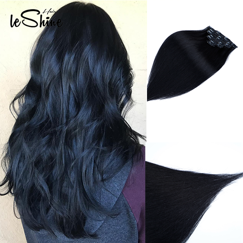 Leshine Remy Straight Hair Extension 100% Human Hair Clips In Hair Extensions 14''16''18'' 7Piece/Set Natural Hair Clip Ins