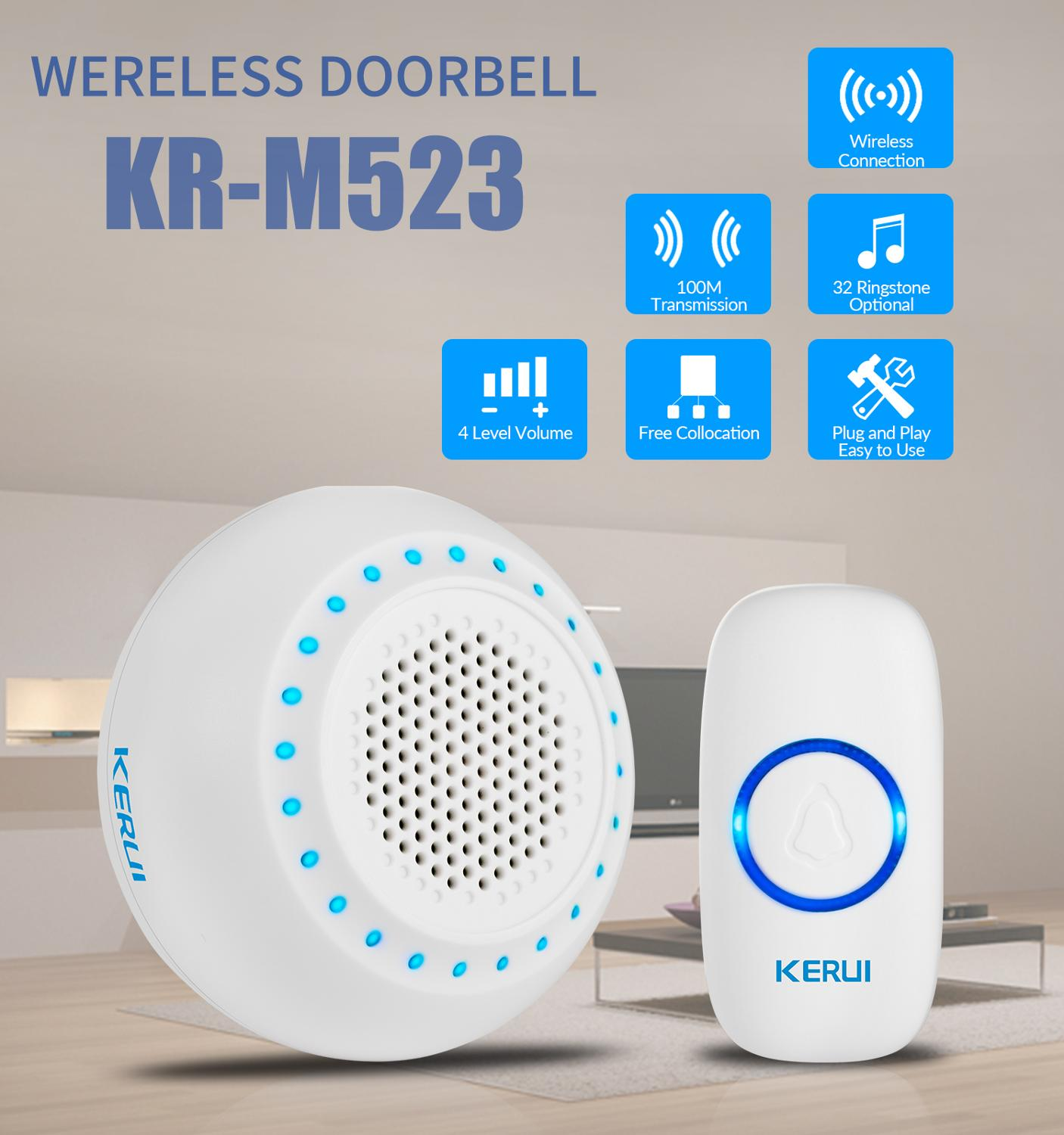 Kerui M523 Wireless Doorbell 32 Songs Home Security Welcome Wireless Doorbell 433Mhz Easy Installtion Door Button EU US UK Plug