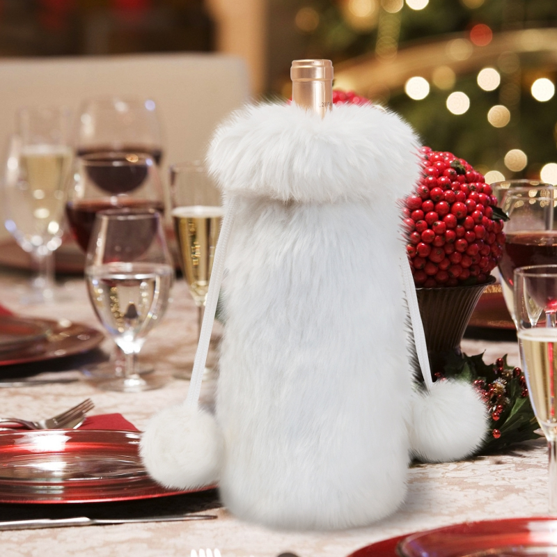 Luxury Faux Fur Wine Bottle Cover Christmas Bottle Bags Gift New Year Decorations Home Christmas Decor Xmas Ornaments