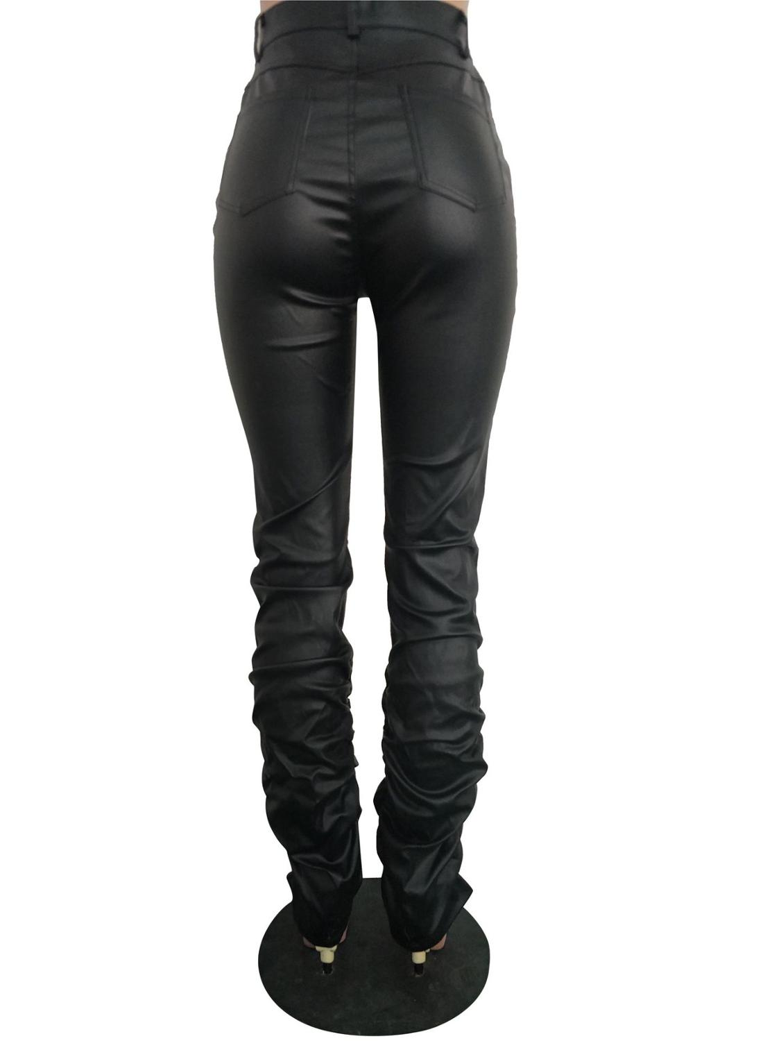 Adogirl Ruched PU Leather Pants Highly Stretchy Women Fashion Skinny Trousers Pants & Capris Women Bottom ! Plus Size Women's Clothing & Accessories