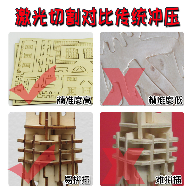 Children Educational Puzzle 3 ddiy Model House Airplane Wooden Puzzle Decoration Stereo Wooden Street Vendor Toy