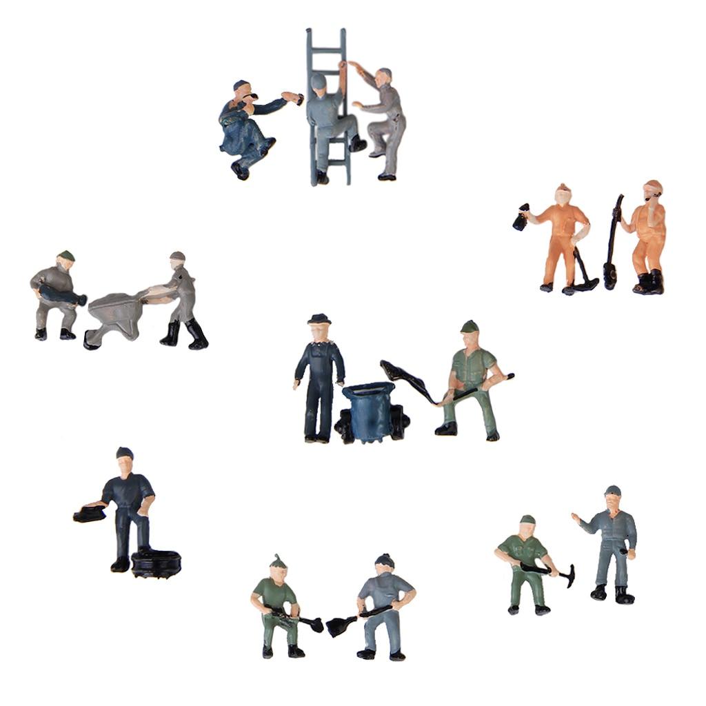25 peças 187 ho escala miniatura pessoas modelo trabalhador estatuetas para o modelo trem diorama acessórios diy, sortido