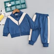 Повседневный комплект одежды для мальчиков 1, 2, 3, 4 лет, спортивный костюм Одежда для младенцев детский спортивный костюм в стиле пэчворк куртка на молнии+ спортивные штаны