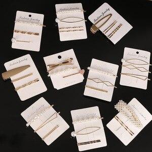 Fashion 1Set Woman Pearl Hairpins Alloy Barrettes Geometric Gold Hair Clip Sweet Headwear Barrettes Headband Hair Accessories