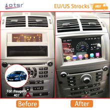 Android 10.0 4+64GB Car DVD Player Car Radio Tape Recorder Android Tablet Multimedia GPS Navigation For Peugeot 407 2004-2010