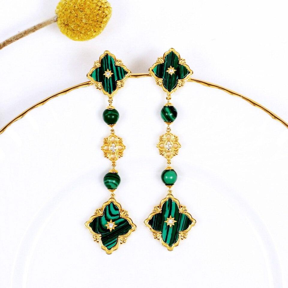 CMajor Style italien en argent Sterling mode à la mode élégant trèfle longues boucles d'oreilles pour les femmes bicolore bijoux en gros
