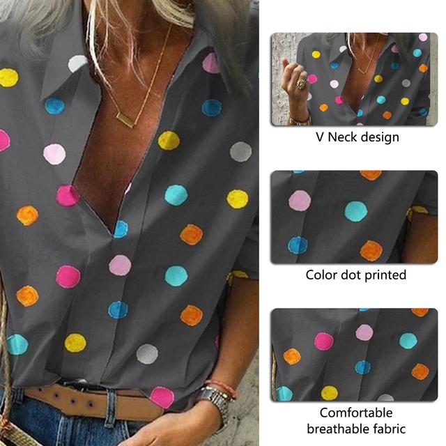 Dot Print Blouse Tops Women Colourful