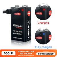 Batería recargable de iones de litio para helicóptero teledirigido, USB, 9 voltios, 6F22, 9 V, micrófono, detector de humo y metal