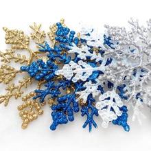 цена на 6pcs Christmas ornaments 10CM plastic snowflakes Christmas tree ornaments Christmas hangings