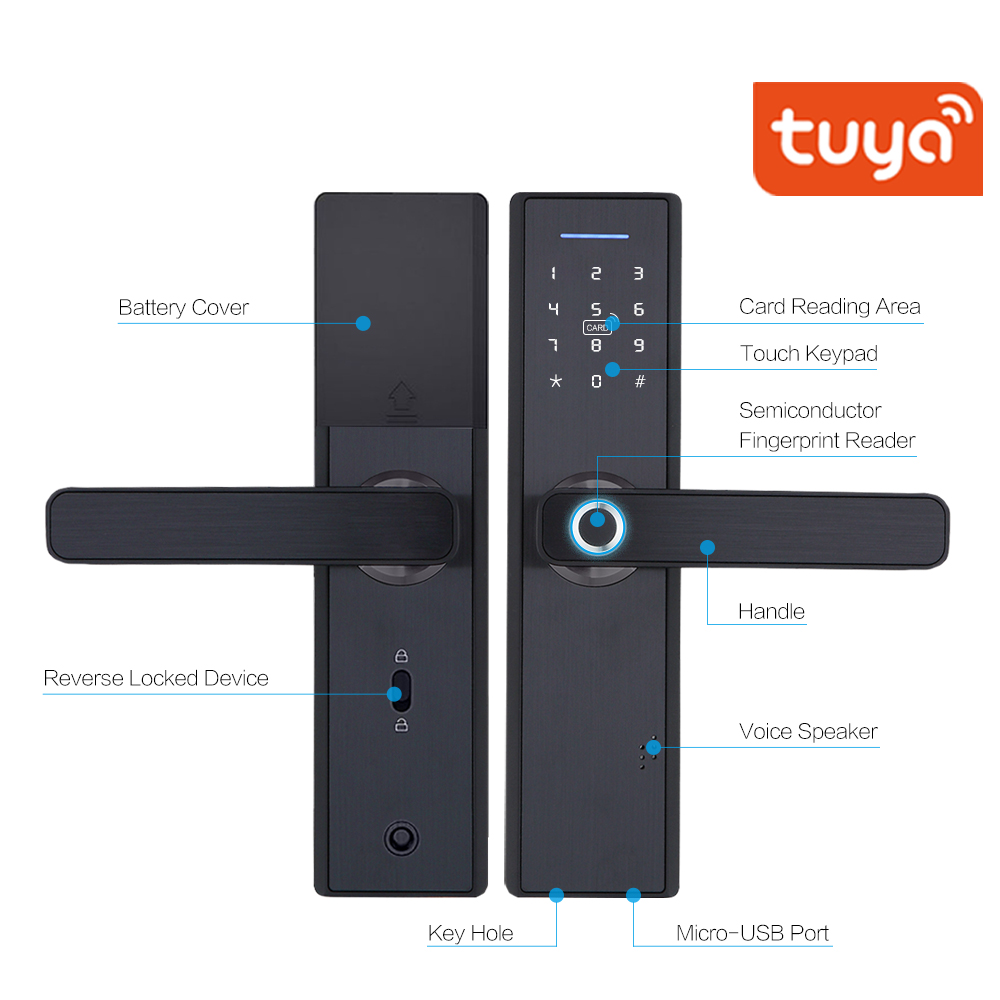 TUYA APP Operated Smart Fingerprint Padlock with Password Protected Lock for Home and Office Door 4