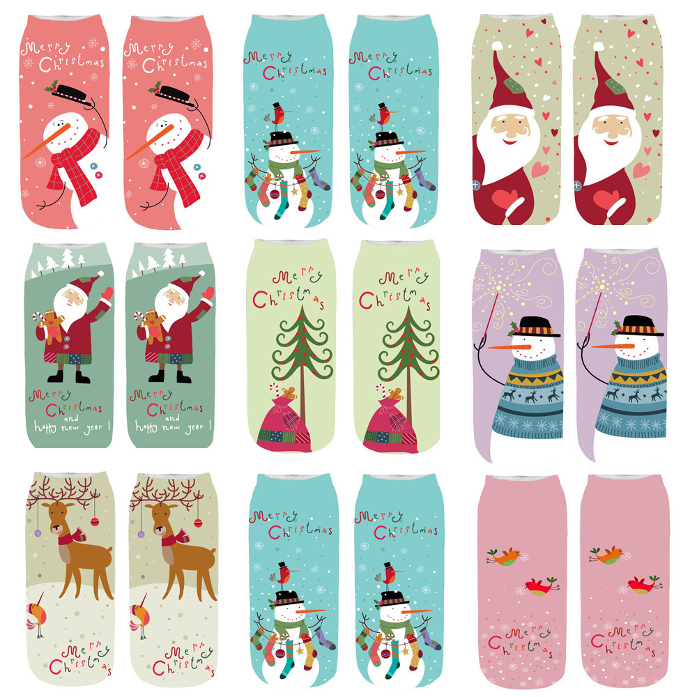 2019 Women Socks Unisex Christmas Funny 3D Fashion Printed Casual Socks Cute Low Cut Ankle Sock Y807