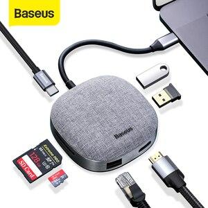 HUB USB C Baseus Type C vers HDMI RJ45 USB 3.0 HUB USB pour MacBook Pro USB C Dock lecteur de carte SD tissu adaptateur USB Type C HUB